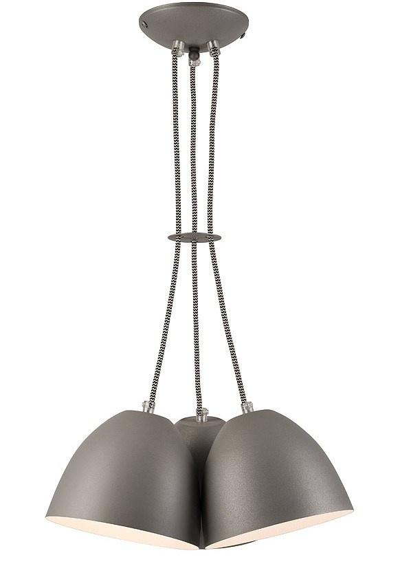 3 LAMPA WISZĄCA LIVIA LOFT METALOWA SREBRNA BIAŁA